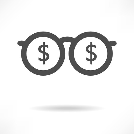 upscale: Eyeglasses Sign concept vector of rich man. This graphic icon also represents millionaire with much money, billionaire businessman Illustration