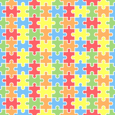 Jigsaw seamless puzzle blank template. Pieces are easy to separate. Vector