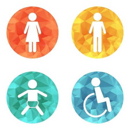 blind girl: Vector restroom icons on bright buttons - lady, man, child, diasbility Illustration