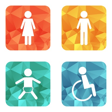 blind woman: Vector restroom icons on bright buttons - lady, man, child, diasbility Illustration