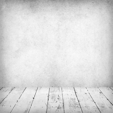 Intérieur blanc vide de la salle vintage sans plafond de mur de pierre grise grunge et vieux plancher de bois. Fond parfaite pour votre concept ou projet. 3d réaliste.