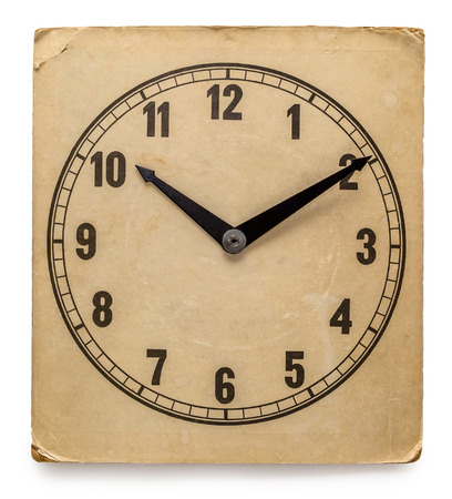 timekeeping: Old Clock Isolated on white - old vintage clock face
