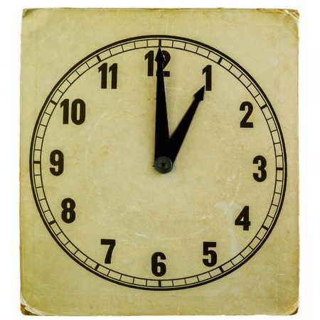 pm: old fashioned paper clock showing one oclock pm isolated on white Stock Photo