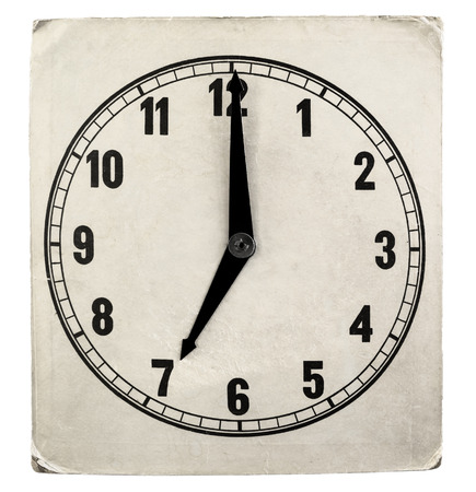 Vintage weathered paper clock face isolated on a white background photo