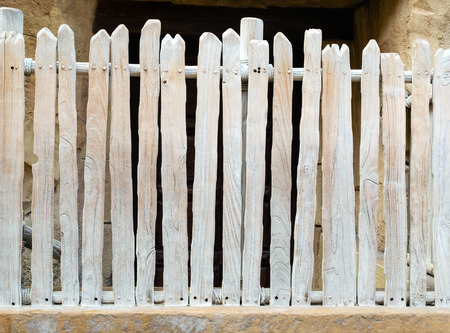 Wooden fence background from white painted planks Stock Photo