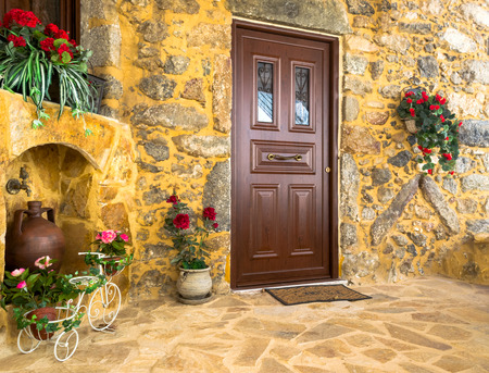 Charming entrance of courtyard of old mediterranean village Spili photo