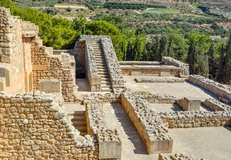 Pałac w Knossos na Krecie, Grecja Knossos Palace, jest największym Epoka brązu wykopalisk archeologicznych na Krecie i ceremoniał i politycznym centrum cywilizacji i kultury minojskiej. Zdjęcie Seryjne