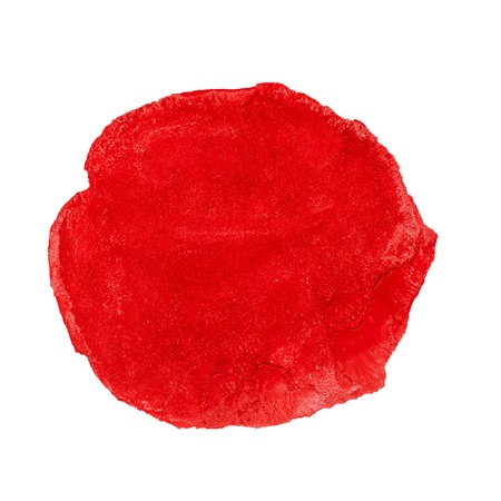 Abstract red watercolor painted circle isolated on white background photo
