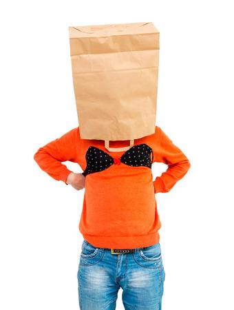 bi racial: Young man in paper bag on head wearing women s lingerie
