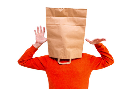 Man in paper bag on head  photo