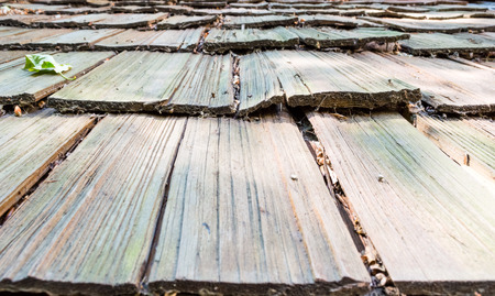 Close-up of roof wooden planks Stock Photo