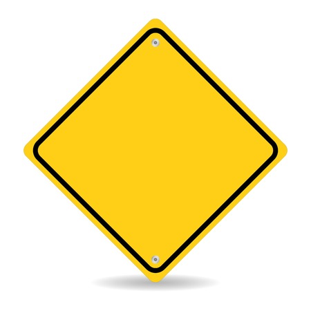 Blank yellow road sign on white background  Illustration
