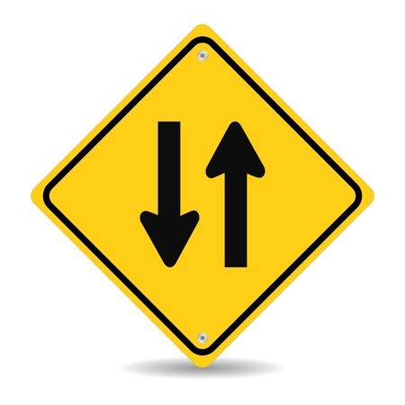 two way: Two way traffic sign on white  Illustration