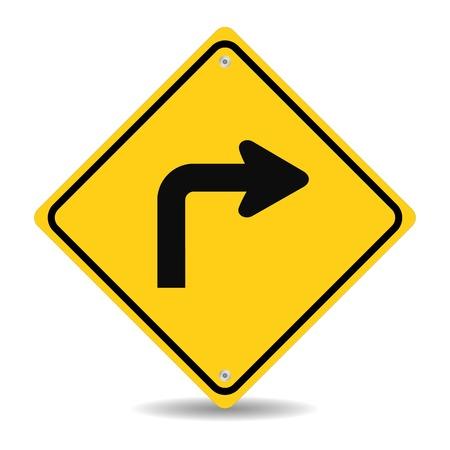traffic: Turn right traffic sign Illustration