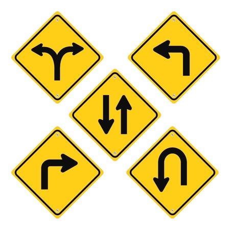 Road Signs Set Yellow