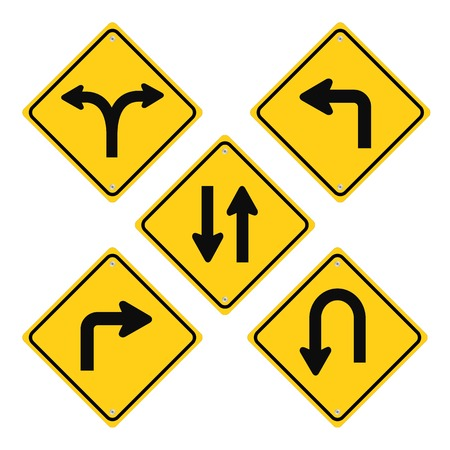 go sign: Road Signs Set Yellow