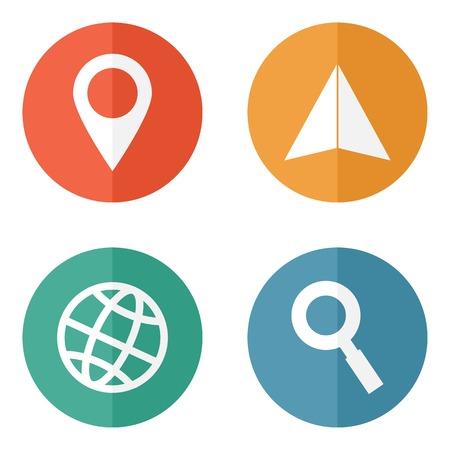 navegacion: Ubicaci�n viajando iconos Vectores