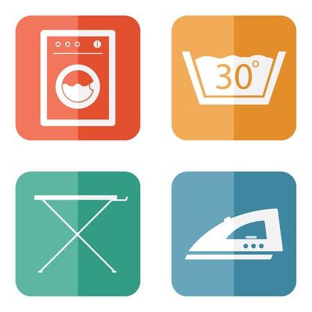 laundry hanger: Laundry Room Icons Illustration
