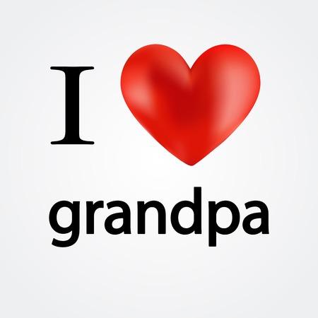 grannie: Card i love grandpa - vector illustration