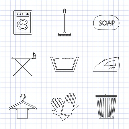 Laundry And Cleaning Icons Set for web and mobile on math paper Vector