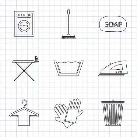 laundry hanger: Servicio de lavander�a y limpieza Conjunto de iconos para web y m�vil en el papel de matem�ticas