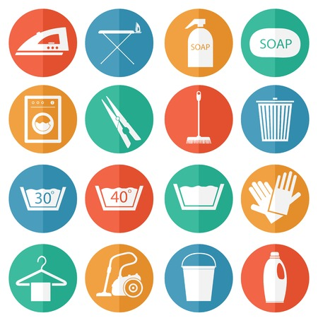 auto washing: Laundry and cleaning icons