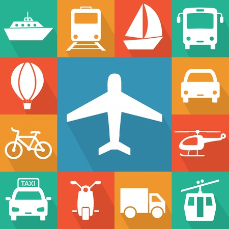 Vector illustration of simple transport related icons for your design Illustration