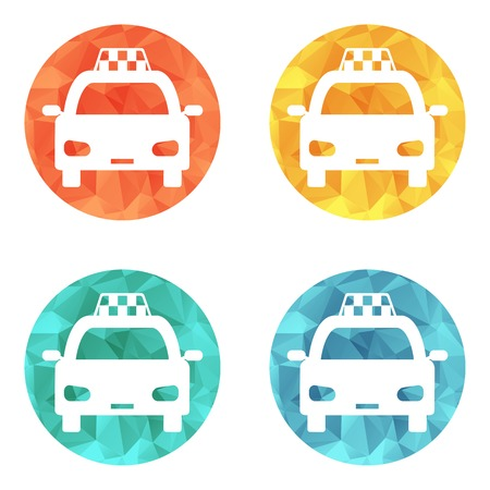 Taxi car sign icon. Public transport symbol. 4 icons set. Vector Vector