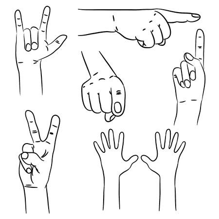 Hands in different interpretations. Vector illustration. Vector