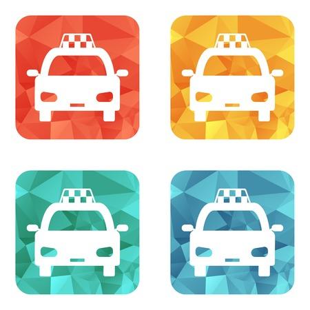 Taxi car sign icon. Public transport symbol. 4 icons set. Vector Vector