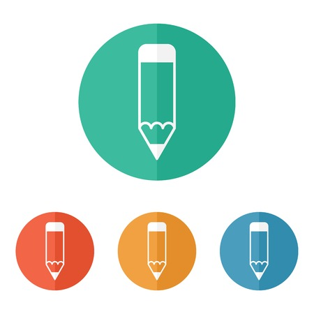 Pencil icon, flat colored design. Vector