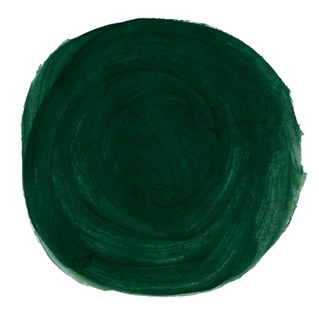Abstract green watercolor painted circle isolated on white background photo