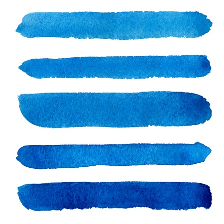 whiteWatercolor blue brush strokes background design isolated on Stock Photo