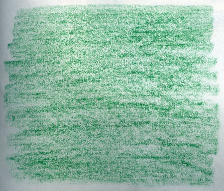 Crayon scribble background in green tones on white paper.