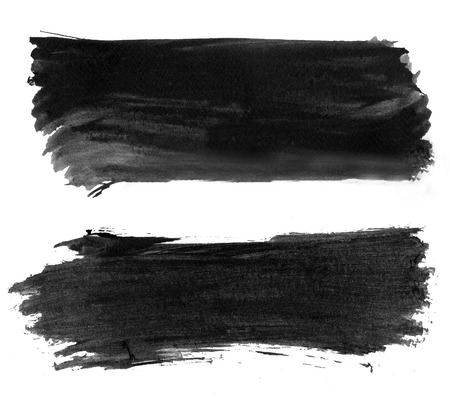 High resolution abstract black watercolor strokes isolated photo