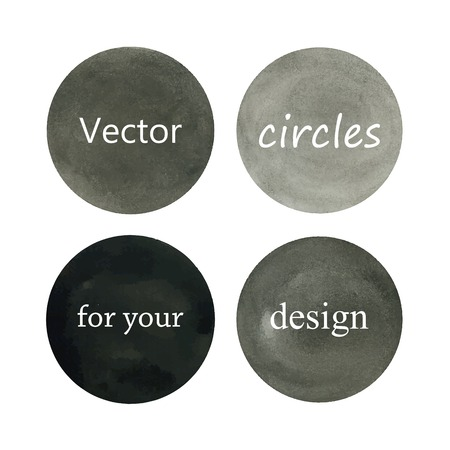Beautiful vector grey watercolor circles design elements isolated on white background. Vector