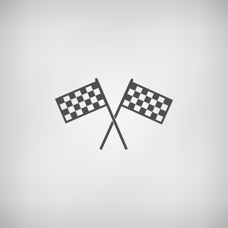 two crossed checkered flags: racing flag icon grey flat vector