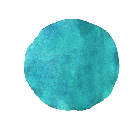 Blue circle watercolor texture paint isolated. Closeup photo