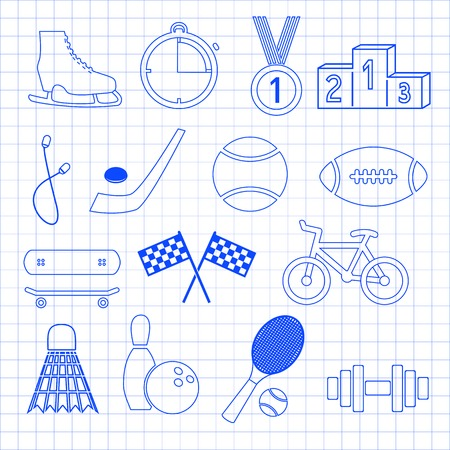 math paper: Sport vector icons set for web and mobile on math paper. Illustration