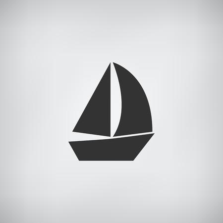 barca a vela: Icona Sail Boat piatta vettore Vettoriali