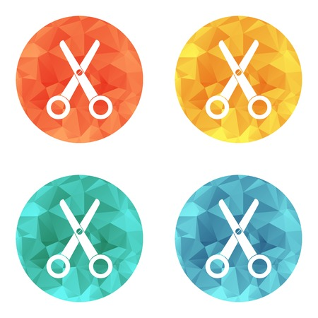 Scissors flat single icon vector on colored buttons Vector