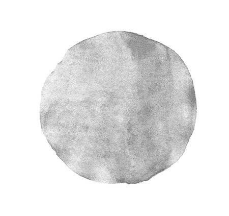 Monochrome grey circle watercolor texture paint isolated. Closeup Stock Photo