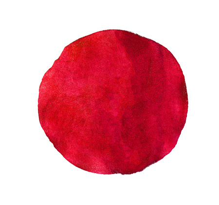 Abstract red or pink  watercolor painted circle isolated on white background