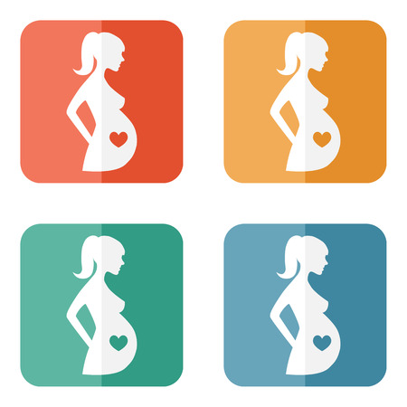 Pregnant woman sign icon vector. Women Pregnancy symbol. 4 colorful buttons.