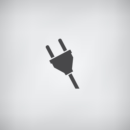 adapter: Electric plug icon - simple flat monochrome
