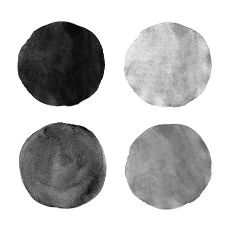 grunge brush: Beautiful grey watercolor circles design elements isolated on white background.