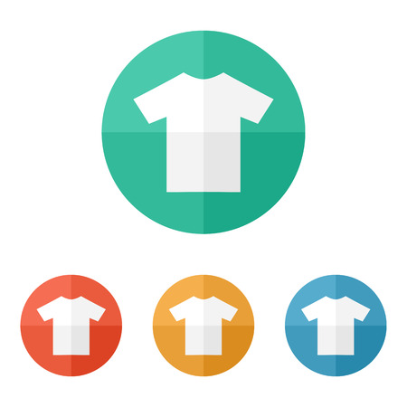 boy underwear: T-shirt flat simple blank icon vector. Clothes symbol on colored buttons