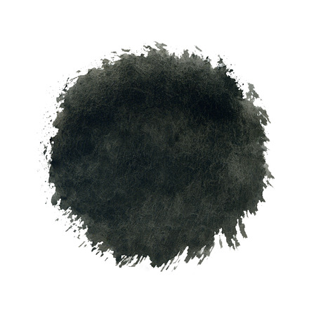 Watercolor circle, black drop splash lon white background. photo
