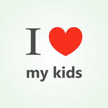 i kids: I love my kids text lettering with heart. Vector illustration
