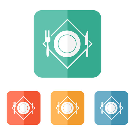 White restaurant menu icon plate with cutlery fork, knife on napkin Illustration